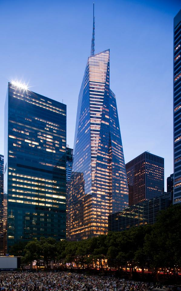Designed by American architect Rick Cook, the Bank of America Tower in New York City is at the forefront of sustainable building with such features as floor-to-ceiling window glazing, which traps heat and maximizes natural light. What's more, the building collects rain water to reuse throughout the structure.