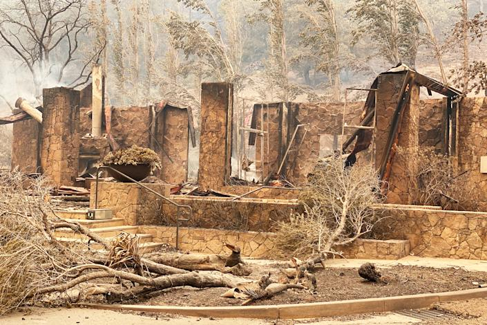 The burned remains of Calistoga Ranch in Napa Valley, Calif., on Sept. 28, 2020. (State Sen. Bill Dodd)