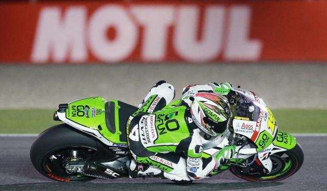 Go&Fun Honda Gresini MotoGP rider Alvaro Bautista of Spain races during a free practice session at the MotoGP World Championship at the Losail International circuit in Doha March 22, 2014. REUTERS/Mohammed Dabbous (QATAR - Tags: SPORT MOTORSPORT)