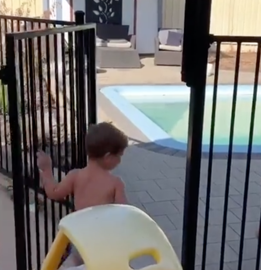 It took less than a minute for the boy to break into the pool. Source: Facebook