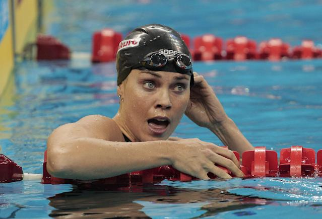 SHANGHAI, CHINA - JULY 26: Natalie Coughlin of the United States reacts after winning the bronze medal in the Women's 100m Backstroke Final during Day Eleven of the 14th FINA World Championships at the Oriental Sports Center on July 26, 2011 in Shanghai, China. (Photo by Adam Pretty/Getty Images)