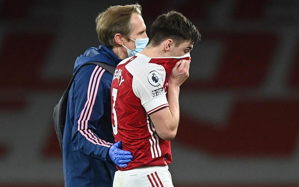 Kieran Tierney limps off the pitch - KEVIN QUIGLEY