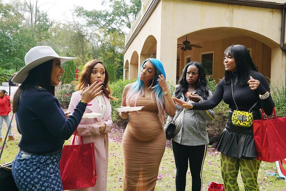 """<p>The women—and production—are having to get more creative when it comes to cast gatherings. New guidelines for the Atlanta Housewives include """"spending more time together outdoors, avoiding crowds, and having daily health checks,"""" according to <a href=""""https://pagesix.com/2020/12/02/real-housewives-of-atlanta-resumes-filming-with-new-covid-19-rules/"""" rel=""""nofollow noopener"""" target=""""_blank"""" data-ylk=""""slk:Page Six"""" class=""""link rapid-noclick-resp""""><em>Page Six</em></a>.</p>"""