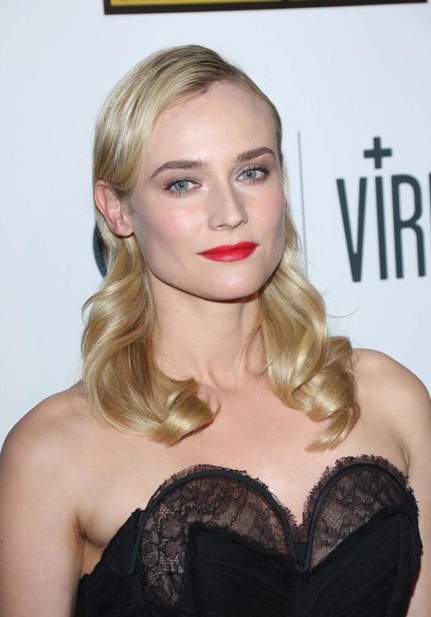 Diane Kruger teamed her red lips with wavy blonde locks at the Critics Choice TV Awards. [Rex]