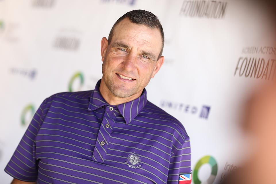 Vinnie Jones attends at The Screen Actors Guild Foundation's 6th Annual Los Angeles Golf Classic on Monday, June 8, 2015, in Burbank, Calif.  (Photo by John Salangsang/Invision/AP)