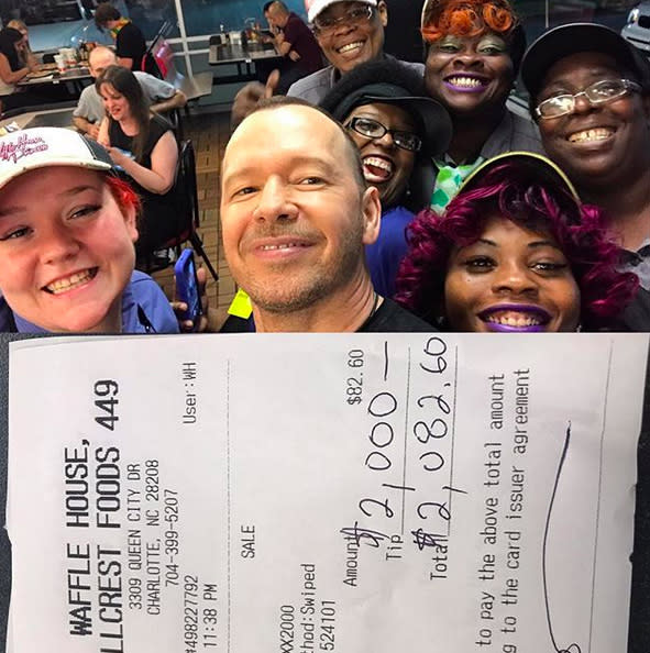 """<p>The guys from New Kids on the Block have a long history of loving the waffle-serving eatery, and Wahlberg reminded us of that in July when he <a rel=""""nofollow"""" href=""""https://www.instagram.com/p/BWeXT74Hk6N/?taken-by=donniewahlberg"""">tipped $2,000</a> — and <a rel=""""nofollow"""" href=""""https://www.yahoo.com/celebrity/donnie-wahlberg-leaves-2000-tip-waffle-house-gives-staff-backstage-passes-172831038.html"""">a VIP concert package</a> — on a tab of $82.60 at a location in Charlotte, N.C. (Photo: <a rel=""""nofollow"""" href=""""https://www.instagram.com/p/BWeXT74Hk6N/"""">Donnie Wahlberg via Instagram</a>) </p>"""