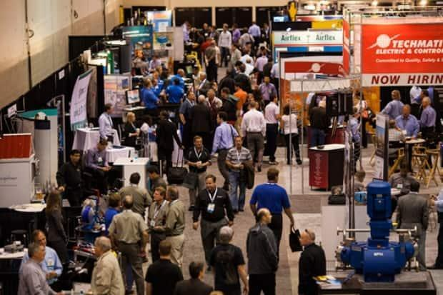 The annual Global Energy Show — formerly called the Global Petroleum Show and pictured here in 2014 — draws exhibitors to Calgary from all over the world.  (Global Petroleum Show  - image credit)