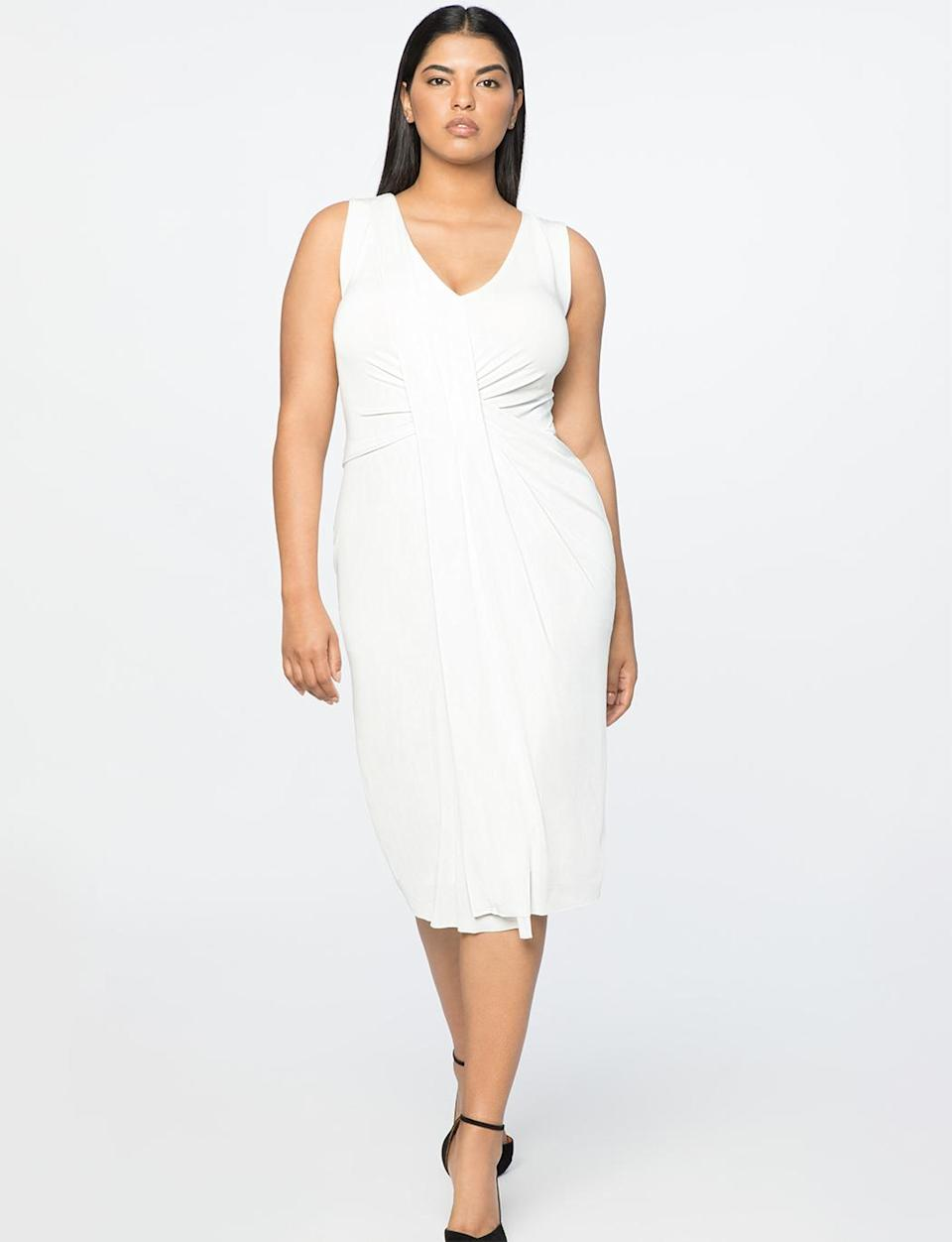 """<p>This elegant dress is simple in nature but so versatile. Add a black blazer and black boots for work, or throw on heels and tear-drop earrings to go out at night.<br>Drape-front V-neck dress in Chalk , $100, <a rel=""""nofollow noopener"""" href=""""https://fave.co/2zkGB4F"""" target=""""_blank"""" data-ylk=""""slk:eloquii.com"""" class=""""link rapid-noclick-resp"""">eloquii.com</a> </p>"""
