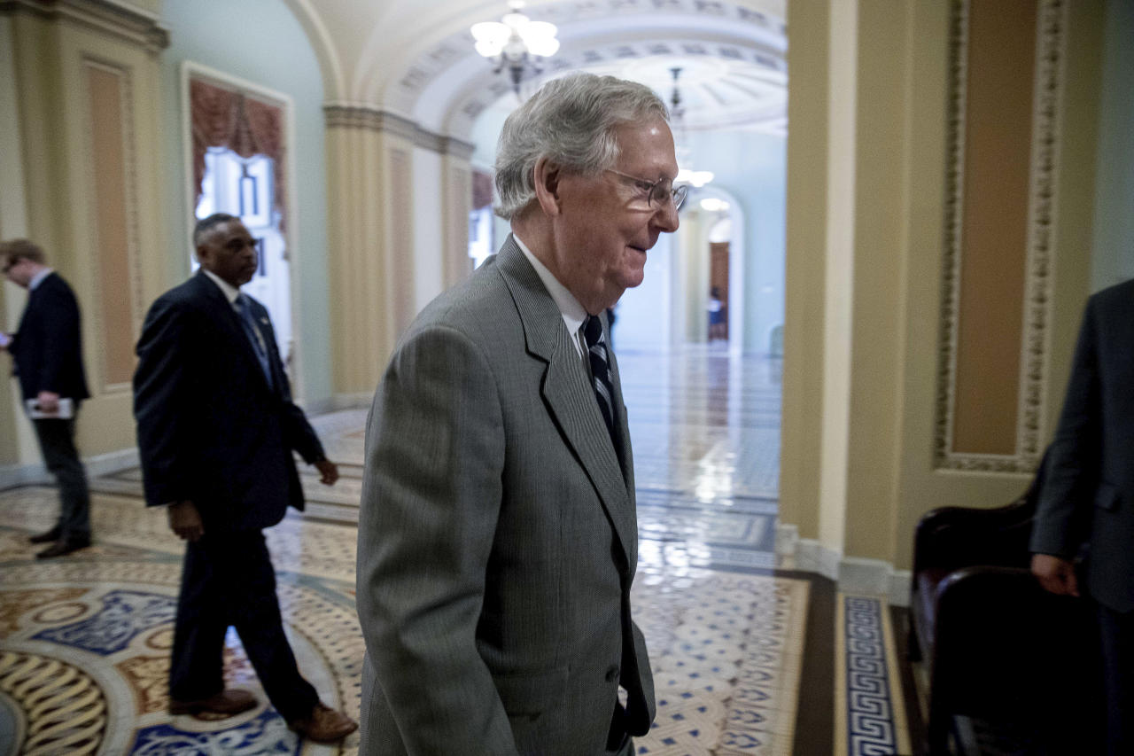 Senate Majority Leader Mitch McConnell of Ky. walks into the Senate Chamber on Capitol Hill, Thursday, July 20, 2017, in Washington. (AP Photo/Andrew Harnik)