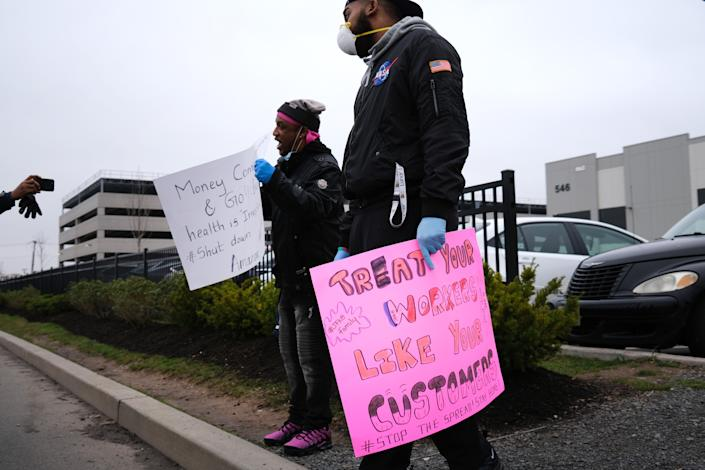 NEW YORK, NEW YORK - MARCH 30: Amazon employees hold a protest and walkout over conditions at the company's Staten Island distribution facility on March 30, 2020 in New York City. Workers at the facility, which has had numerous employees test positive for the coronavirus, want to call attention to what they say is a lack of protections for employees who continue to come to work amid the coronavirus outbreak. (Photo by Spencer Platt/Getty Images)