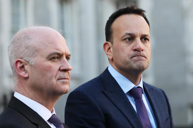 Irish Taoiseach Leo Varadkar (right), alongside Chief Medical Officer Dr Tony Holohan, at Government Buildings in Dublin, announced the St Patrick's Day parade would be called off. (PA Images)