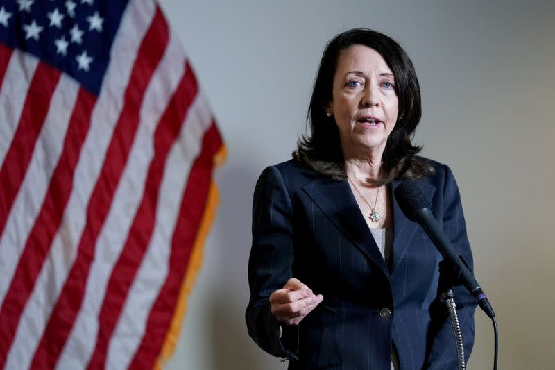 FILE PHOTO: U.S. Senator Maria Cantwell speaks during a news conference