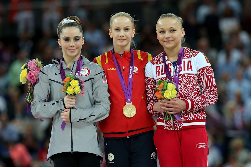 Silver medallist McKayla Maroney (L) of the United States, gold medallist Sandra Raluca Izbasa of Romania and bronze medallist Maria Paseka of Russia pose with their medals during the medal ceremony following the Artistic Gymnastics Women's Vault final on Day 9 of the London 2012 Olympic Games at North Greenwich Arena on August 5, 2012 in London, England. (Photo by Ronald Martinez/Getty Images)