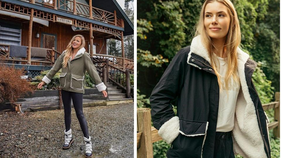 Nordstrom shoppers can't get enough of this cozy sherpa-lined jacket. Image via Instagram/livingfashionablylate and Thread and Supply.