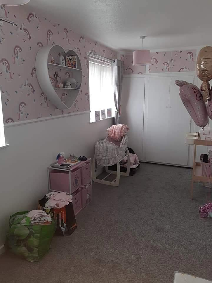 The mum-to-be had decorated the nursery in a pink hue. (Hayley Sexton/SWNS)