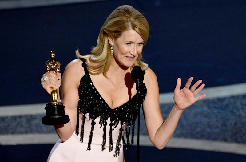 HOLLYWOOD, CALIFORNIA - FEBRUARY 09: Laura Dern accepts the Actress in a Supporting Role award for 'Marriage Story' onstage during the 92nd Annual Academy Awards at Dolby Theatre on February 09, 2020 in Hollywood, California. (Photo by Kevin Winter/Getty Images)
