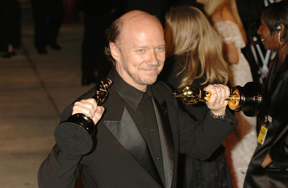 Paul Haggis with the awards for Best Motion Picture of the Year and Best Original Screenplay for Crash