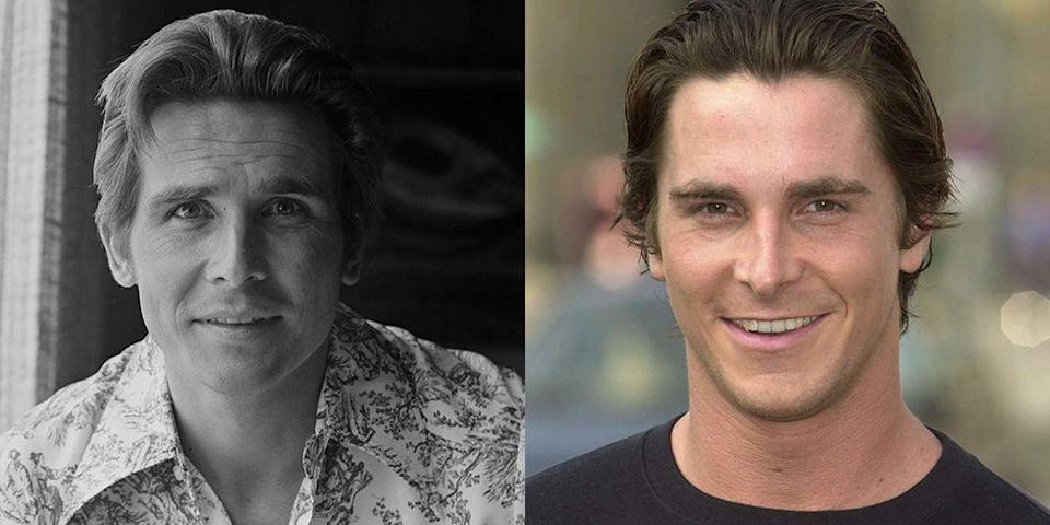 <p>His deep set brown eyes, prominent nose, and strong eyebrows make Christian Bale a lookalike for a young James Brolin. </p>