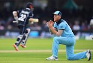 Ben Stokes reacts after a misfield. (Photo by Clive Mason/Getty Images)