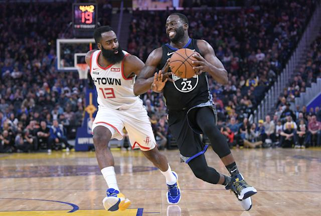 The Warriors got a balanced effort from their makeshift lineup and limited James Harden to just one free-throw attempt in a Christmas Day upset. (Thearon W. Henderson/Getty Images)