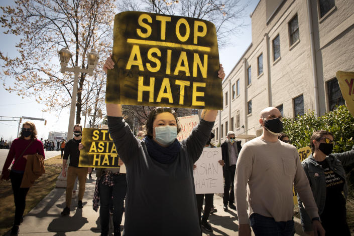 Supporters of the Asian American and Pacific Islander community demonstrate after the spa shootings in Atlanta. (Robin Rayne/ZUMA Wire)