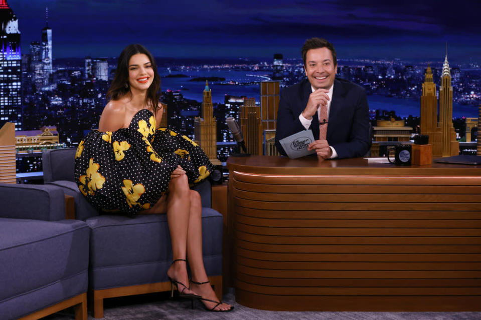 """Kendall Jenner during an interview with host Jimmy Fallon at """"The Tonight Show Starring Jimmy Fallon"""" on Tuesday, Sept. 14, 2021 - Credit: Alex Hooks/NBC"""