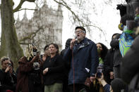 Former Labour party leader Jeremy Corbyn addresses demonstrators during a 'Kill the Bill' protest in London, Saturday, April 3, 2021. The demonstration is against the contentious Police, Crime, Sentencing and Courts Bill, which is currently going through Parliament and would give police stronger powers to restrict protests. (AP Photo/Matt Dunham)
