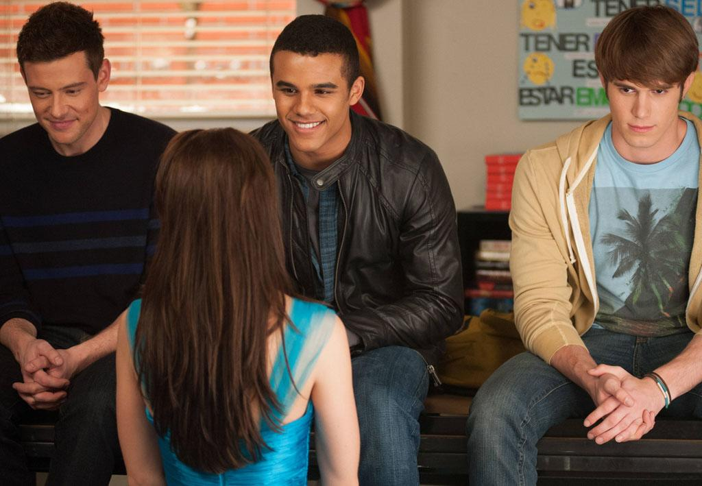 "Finn (Cory Monteith), Jake (Jacob Artist) and Ryder (Blake Jenner) watch Marley (Melissa Benoist) as she asks Jake to the school dance in the ""Sadie Hawkins"" episode of ""Glee."""