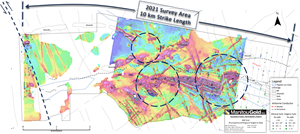 Showing priority target areas along the western 10 km of the Baltimore deformation zone (target areas shown by dashed circles)