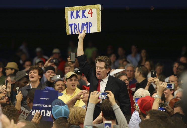 A Ku Klux Klan supporter at a Trump campaign rally in New Orleans last March. (Photo: Layne Murdoch Jr./Reuters)