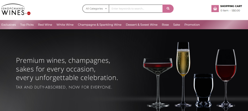 Screenshot of iShopChangiWines homepage. (PHOTO: iShopChangiWines)