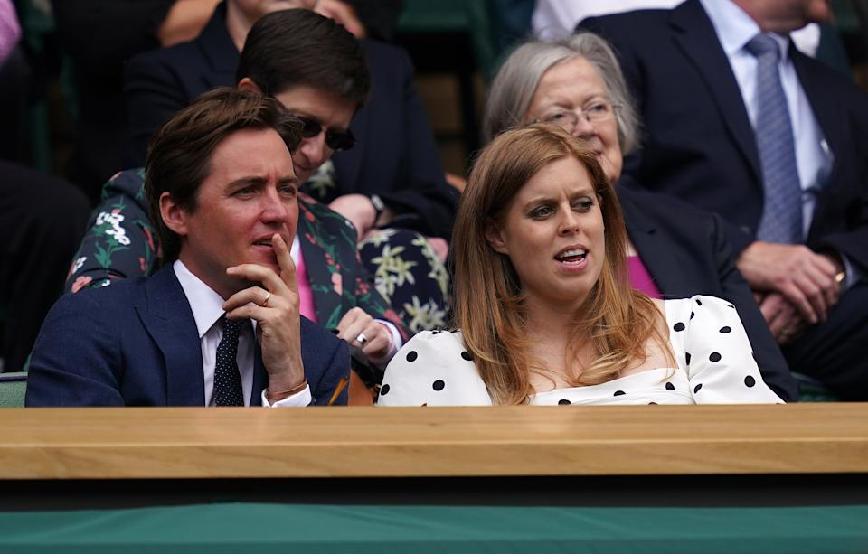 Edoardo Mapelli Mozzi and Princess Beatrice in the Royal Box at Centre Court on day ten of Wimbledon at The All England Lawn Tennis and Croquet Club, Wimbledon. Picture date: Thursday July 8, 2021. (Photo by John Walton/PA Images via Getty Images)