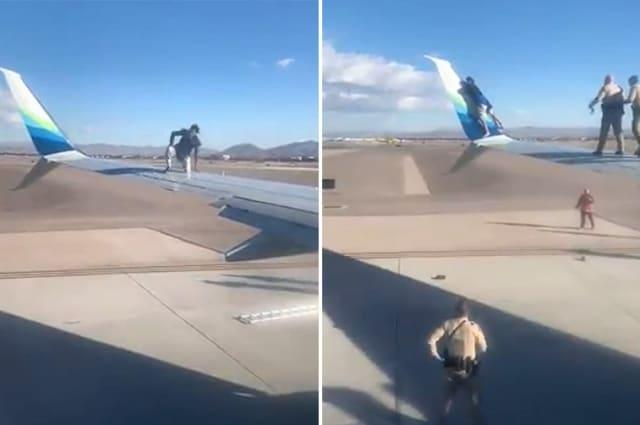Bizarre moment man climbs on wing of aeroplane in US airport