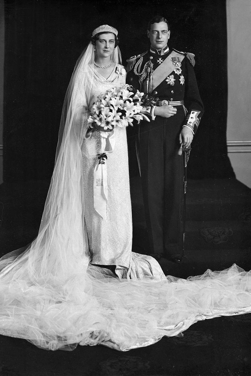 "<p><strong>Wedding date: </strong>November 29, 1934</p><p><strong>Wedding tiara: </strong>Princess Marina was given <a href=""http://orderofsplendor.blogspot.com/2012/11/tiara-thursday-kent-city-of-london.html"" rel=""nofollow noopener"" target=""_blank"" data-ylk=""slk:this diamond fringe tiara"" class=""link rapid-noclick-resp"">this diamond fringe tiara</a> by the City of London on her wedding day, when she married Prince George, Duke of Kent. The tiara has since earned the name Kent City of London Fringe Tiara, and has also been worn by Marina's daughter, Alexandra, and daughter-in-law Marie-Christine on their wedding days.</p>"
