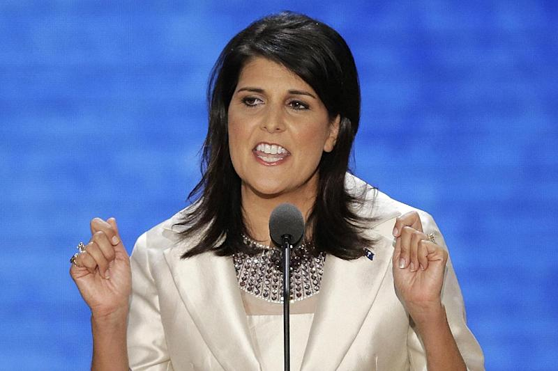 FILE - This Aug. 28, 2012, file photo shows South Carolina Governor Nikki Haley addresses the Republican National Convention in Tampa, Fla. Mitt Romney's shadow looms over a GOP in disarray. Republican officials in Washington and elsewhere concede that Romney's immediate withdrawal from politics _ while welcome by most _ has created a leadership void, leaving the GOP rudderless and fighting with itself during what may be the most important policy debate in a generation. (AP Photo/J. Scott Applewhite, File)