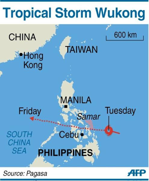 The projected path of Tropical Storm Wukong, which is expected to make landfall in eastern Philippines before dawn on Wednesday