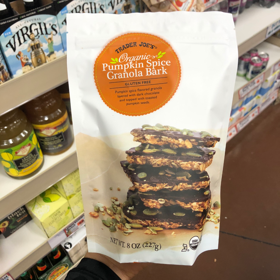 <p><strong>Made from oats, almonds, pumpkin seeds and more seasonal ingredients, this granola bark is then topped with dark chocolate for a yummy treat. </strong>We were impressed that a serving wasn't very high in added sugar and ingredients seem pretty wholesome. </p><p><strong><em>RD Pick</em></strong></p>
