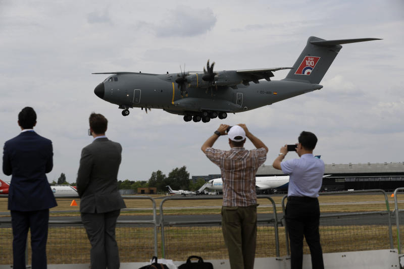 An Airbus 400M lands after a flying display at the Farnborough Airshow in Farnborough, England, Monday, July 16, 2018. (AP Photo/Matt Dunham)