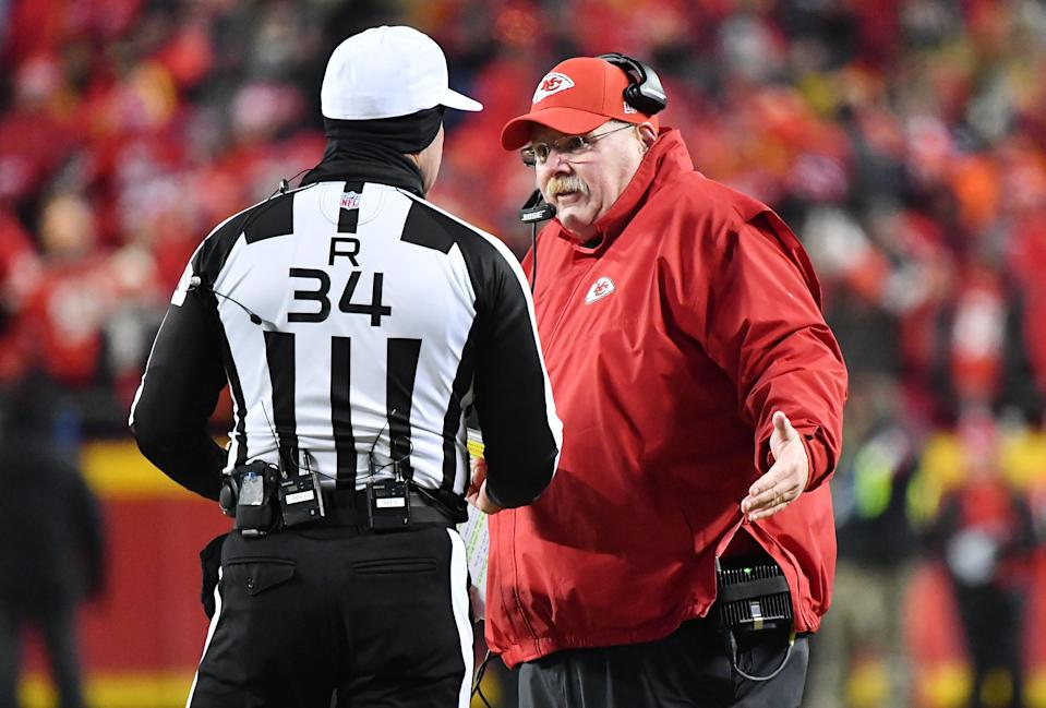 Andy Reid didn't dispute the call against Dee Ford but wondered aloud why officials didn't give him a heads up. (Getty)