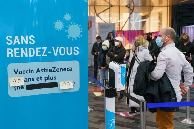People were quick to line up in Montreal to get a dose of the AstraZeneca vaccine as soon as the government made it available to those 45 and up.