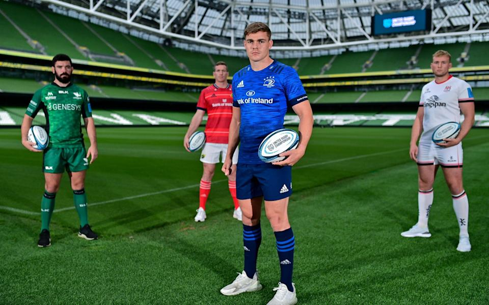 Garry Ringrose of Leinster, with from left, Paul Boyle of Connacht, Chris Farrell of Munster and Kieran Treadwell of Ulster during the United Rugby Championship launch - GETTY IMAGES