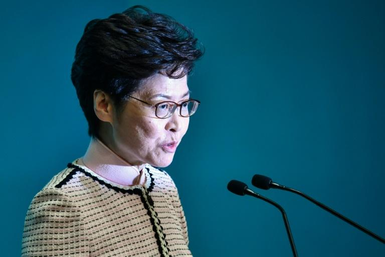 The speech by chief executive Carrie Lam was billed as an attempt to win hearts and minds after four months of seething pro-democracy protests (AFP Photo/Anthony WALLACE)