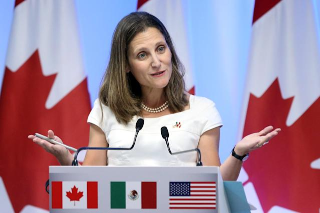 Canadian Foreign Minister Chrystia Freeland addresses the media to close the second round of NAFTA talks involving the United States, Mexico and Canada at Secretary of Economy headquarters in Mexico City, Mexico, September 5, 2017. (Reuters)