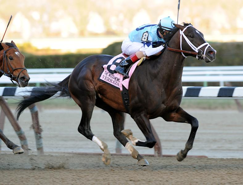In this photo provided by the New York Racing Association, Verrazano, with John Velazquez aboard, captures The Grade I Wood Memorial stakes horse race at Aqueduct Race Track in New York, Saturday, April 6, 2013. Normandy Invasion was second and Vyjack was third. (AP Photo/New York Racing Association)