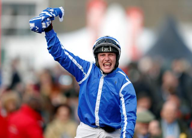Horse Racing - Cheltenham Festival - Cheltenham Racecourse, Cheltenham, Britain - March 15, 2018 Paul Townend celebrates after winning the 15:30 Sun Bets Stayers' Hurdle Action Images via Reuters/Matthew Childs