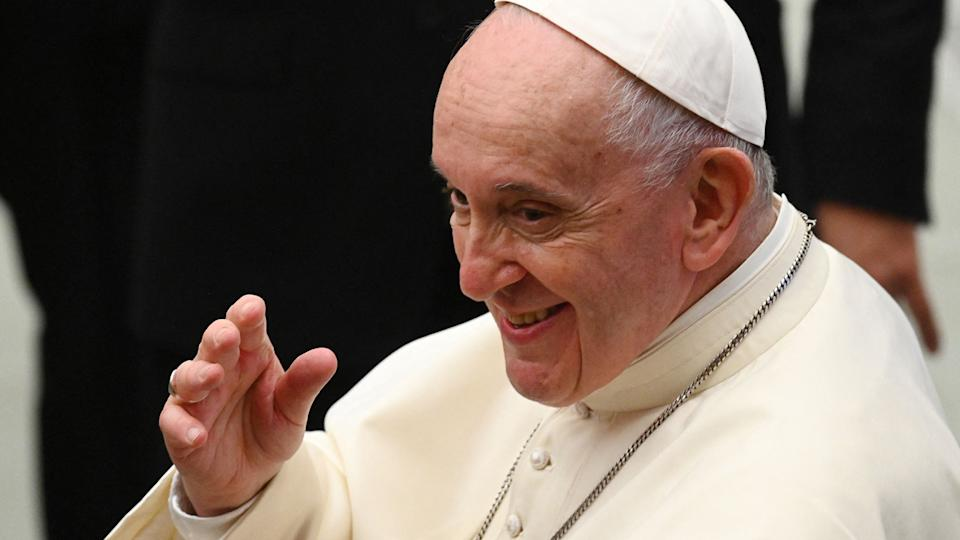 Pope Francis waves at the end of his weekly general audience on September 29, 2021 in the Paul VI hall at the Vatican. (Vincenzo Pinto/AFP via Getty Images)