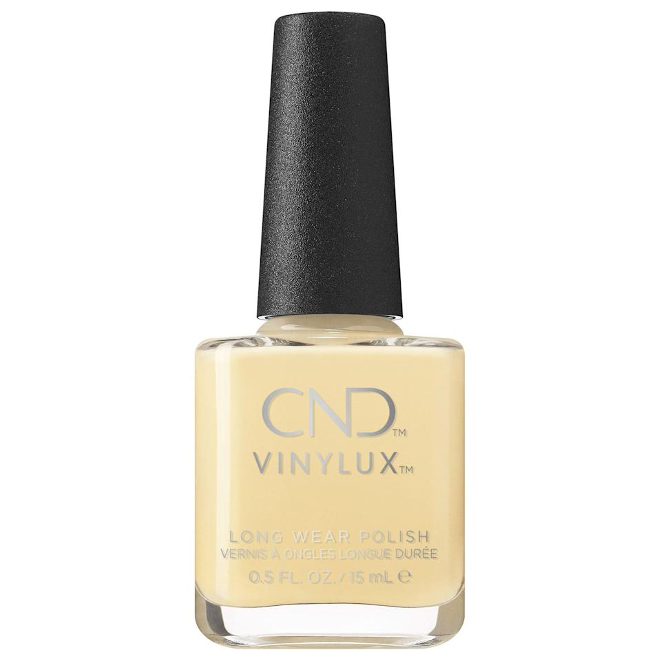 """<h3>Lemon Yellow</h3><br><a href=""""https://www.refinery29.com/en-us/yellow-nail-polish"""" rel=""""nofollow noopener"""" target=""""_blank"""" data-ylk=""""slk:Yellow nail polish"""" class=""""link rapid-noclick-resp"""">Yellow nail polish</a> can be tricky when you're looking for a subtle shade, like lemon. Opt for a color with a creamy white undertone, which reads more soft-glow sunshine than neon.<br><br><strong>CND</strong> Vinylux Smile Maker, $, available at <a href=""""https://www.amazon.com/CND-VINYLUX-Smile-Maker-374/dp/B08X2PF3P8"""" rel=""""nofollow noopener"""" target=""""_blank"""" data-ylk=""""slk:Amazon"""" class=""""link rapid-noclick-resp"""">Amazon</a>"""