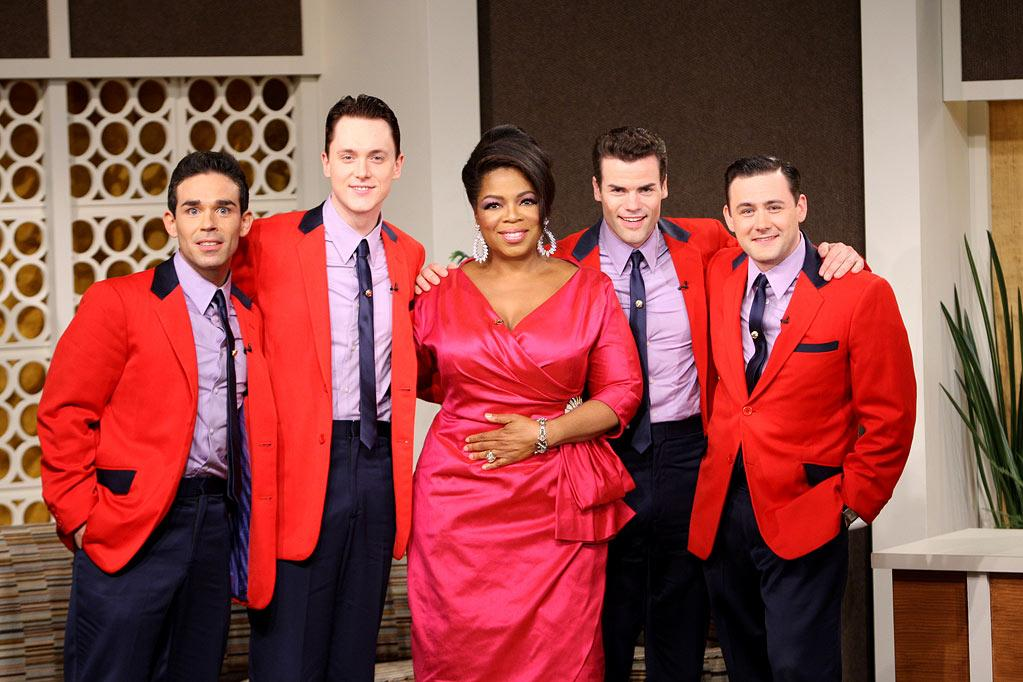 """Oprah hosts The Jersey Boys during her trip back to the '60s on a special episode of <a href=""""/oprah-winfrey-show/show/32704"""">""""The Oprah Winfrey Show""""</a> on September 21, 2009."""