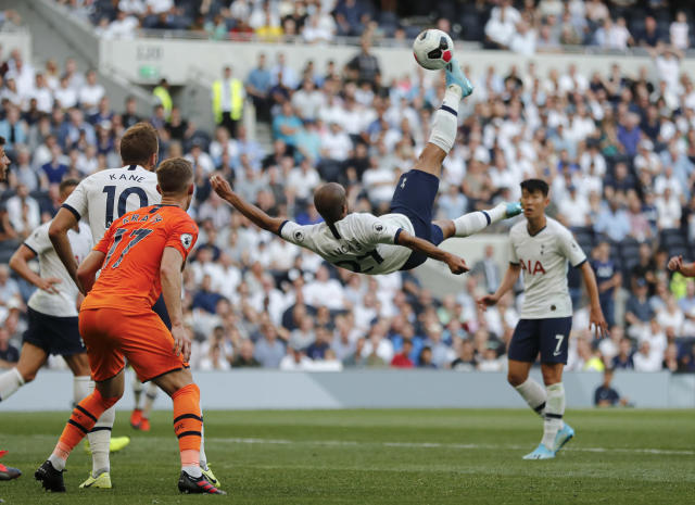 Tottenham's Lucas Moura tries to score with a bicycle kick during the English Premier League soccer match between Tottenham Hotspur and Newcastle United at Tottenham Hotspur Stadium in London, Sunday, Aug. 25, 2019.(AP Photo/Frank Augstein)