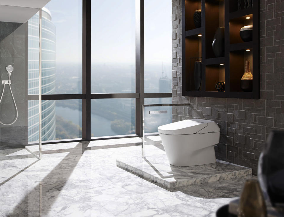 This photo provided by TOTO shows a NEOREST 750H high tech toilet. Toto's top-of-the-line toilet, a tankless wonder with all the gizmos, comes out this fall priced at around $10,000. (AP Photo/TOTO)